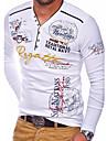Per uomo Magliette maglietta Camicia Pop art Alfabetico Manica lunga Quotidiano Top Essenziale A V Blu Arancione Bianco