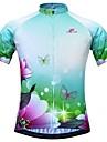 JESOCYCLING Dam Kortärmad Cykeltröja Grön Blommig Botanisk Cykel Tröja Överdelar Bergscykling Vägcykling Andningsfunktion Fuktabsorberande Snabb tork sporter 100% Polyester Kläder / Elastisk