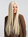Syntetiska peruker / Syntetiska snörning framifrån Rak Kardashian Stil Middle Part Utan lock Peruk Vit Brun / Vit Syntetiskt hår 26 tum Dam Vattenfall / Moderiktig design / Ny ankomst Vit Peruk