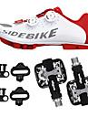 SIDEBIKE Vuxna Cykelskor med pedaler och klossar MTB-skor Kolfiber Stötdämpande Cykelsport Röd och vit Herr Cykelskor