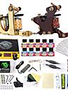 Tattoo Machine Startkit - 2 pcs Tatueringsmaskiner med 10 x 5 ml tatueringsfärger LCD strömförsörjning No case 2 x gjutjärn tatuering