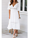 Women\'s Swing Dress Midi Dress White Half Sleeve Solid Colored Hollow Out Summer Spring & Summer V Neck Hot Holiday Beach vacation dresses Flare Cuff Sleeve 2021 S M L XL / Sexy