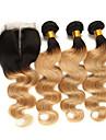 3 paket med stängning Brasilianskt hår Kroppsvågor Remy-hår Hårförlängningar av äkta hår Hår Inslag med Stängning 10-24 tum Hårförlängning av äkta hår Mjuk Bästa kvalitet Ny ankomst Människohår