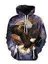 Men\'s Hoodie 3D / Animal Hooded Street chic Long Sleeve Gray XS S M L XL XXL XXXL XXXXL