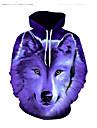 Men\'s Hoodie 3D Hooded Basic Long Sleeve Purple XS S M L XL XXL XXXL XXXXL