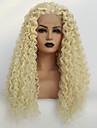 Syntetiska snörning framifrån Kinky Curly Middle Part Spetsfront Peruk Blond Lång Blekt Blont Syntetiskt hår 22-26 tum Dam Mjuk Värmetåligt Dam Blond / limfria