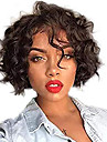 Cabelo Humano Frente de Malha Peruca Corte Bob Bob curto estilo Cabelo Brasileiro Ondulado Preta Peruca 130% Densidade do Cabelo com o cabelo do bebe Riscas Naturais Para Mulheres Negras 100% Virgem