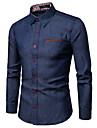 Men\'s Shirt Long Sleeve Daily Tops Business Basic Classic Collar Navy Blue Light Blue / Summer / Work
