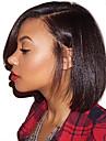 Cabelo Humano Frente de Malha Peruca Partida Profunda Parte lateral Rihanna estilo Cabelo Brasileiro Yaki Liso Natural Peruca 130% Densidade do Cabelo com o cabelo do bebe Riscas Naturais Para