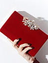 Dam Knappar / Kristalldetaljer Sammet / Legering Aftonväska Rhinestone Crystal Evening Bags Blommig / Botanisk Svart / Rubinrött / Mandel / Höst vinter