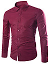 Men\'s Shirt Solid Colored Long Sleeve Daily Slim Tops Business Basic Casual / Daily Classic Collar Purple Blushing Pink Wine / Fall / Work