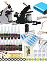 Tattoo Machine Startkit - 2 pcs Tatueringsmaskiner med 10 x 5 ml tatueringsfärger, Professionell Mini strömförsörjning No case 2 x stål tatueringsmaskin för linjer och skuggning