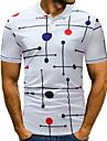 男性用 ゴルフシャツ テニスシャツ 波点 プリント 半袖 日常 トップの ストリートファッション シャツカラー ホワイト ブラック