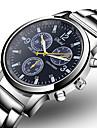 Men\'s Dress Watch Aviation Watch Quartz Fashion Fake Three Eyes Six Needles Analog Black Blue / One Year / Stainless Steel