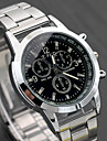 Men\'s Dress Watch Aviation Watch Quartz Fashion Fake Three Eyes Six Needles Analog White Black / One Year / Stainless Steel / Stainless Steel