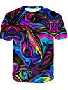 Men\'s Daily T-shirt - 3D / Rainbow Print Round Neck Rainbow / Short Sleeve / Summer