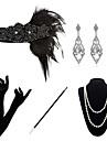 The Great Gatsby charleston 1920s Den store Gatsby Kostymtillbehörssatser Maskerad Dam Kostym Pärlarmband Pärlhalsband Svart Vintage Cosplay Party Halloween / 1 Halsband / 1 Par Örhängen / Handskar