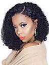 Remy-hår 13x6 Tillslutning Peruk Bob-frisyr Asymmetrisk frisyr Deep Parting stil Brasilianskt hår Deep Curly Naturlig Peruk 150% Hårtäthet Gratis Frakt med babyhår Naturlig hårlinje Afro-amerikansk
