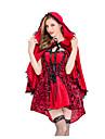 Lilla Rödluvan Maskerad Dam Film-cosplay Gotiskt Röd Klänning Kappa Halloween Karnival Maskerad Cotton Polyster