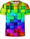 Men's Casual / Daily Plus Size T-shirt - Geometric / 3D Print Round Neck Rainbow / Short Sleeve