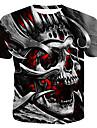 Men\'s T-shirt 3D Graphic Skull Print Short Sleeve Tops Round Neck Gray / Summer