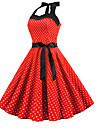 Women\'s A Line Dress Knee Length Dress Blue Blushing Pink Red Light Blue Sleeveless Polka Dot Print Spring Summer Halter Neck Vintage Party S M L XL XXL