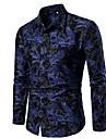 Men\'s Shirt Floral Slim Tops Blue Red