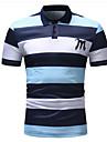 رجالي قميص الجولف قميص تنس مخطط كم قصير قمصان الجولف قمم متنفس مريح قبعة القميص أزرق وردي بلاشيهغ / الصيف