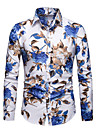 Men\'s Shirt Floral Long Sleeve Party Tops Casual Vacation Outdoor White Black Red
