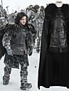Game of Thrones Jon Snow Kappa Kostym Herr Film-cosplay Svart Topp Kjol Kappa Halloween Karnival PU läder Polyster