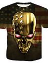 Ανδρικά Μπλουζάκι Γραφική 3D Νεκροκεφαλές Στάμπα Άριστος Στρογγυλή Λαιμόκοψη Χρυσό