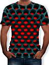 男性用 Tシャツ シャツ グラフィック 3D印刷 プラスサイズ 半袖 カジュアル トップの ストリートファッション 誇張された ラウンドネック パープル イエロー レッド / 夏