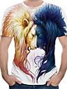 Men\'s T-shirt Graphic Animal Print Tops Round Neck White