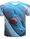 בגדי ריקוד גברים חולצה קצרה חולצה גראפי 3D חיה דפוס צמרות צווארון עגול כחול בהיר