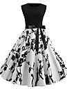 Women's A Line Dress Knee Length Dress White Sleeveless Floral Print Spring Summer Round Neck 1950s Vintage Going out 2021 S M L XL XXL