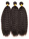 3 paket Brasilianskt hår Yaki Rakt Obehandlat Mänsligt hår Human Hår vävar Förlängare bunt hår 8-28 tum Naurlig färg Hårförlängning av äkta hår Mjuk Klassisk Vackert Människohår förlängningar