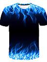 Men\'s T-shirt Graphic Flame Print Tops Round Neck Blue Purple Orange