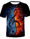 Men\'s T-shirt Graphic Flame Print Short Sleeve Tops Round Neck White Black Purple / Summer