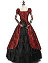 Prinsessa Rokoko Victoriansk Klänningar Festklädsel Kostym Dam Cotton Kostym Svart / röd Vintage Cosplay Maskerad Fest / afton Ärmlös Golvlång Lång längd Plusstorlekar