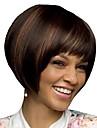 Syntetiska peruker Lugg Afro Naturlig Straight Bob-frisyr Gratis del Peruk Korta Mörkbrun / Mörk Auburn Syntetiskt hår 12 tum Dam Moderiktig design Dam syntetisk Brun / Till färgade kvinnor