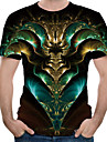 Men\'s T shirt Shirt Graphic Abstract Print Tops Round Neck Green
