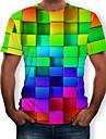Men\'s Daily T-shirt - 3D / Rainbow Print Round Neck Rainbow / Short Sleeve