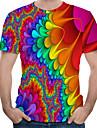 Men\'s T-shirt - 3D / Rainbow Round Neck Blue