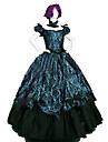 Prinsessa Rokoko Victoriansk Klänningar Festklädsel Kostym Dam Cotton Kostym Mörkgrön Vintage Cosplay Maskerad Fest / afton Ärmlös Golvlång Lång längd Plusstorlekar
