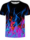 Men\'s T shirt Graphic Flame Print Short Sleeve Daily Tops Black