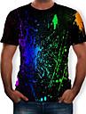 Men\'s T-shirt - Rainbow Print Round Neck Black