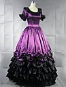 Vintage Prinsess Lolita Rokoko Klänningar Cosplay Kostymer / Dräkter Dam Japanska Cosplay-kostymer Purpur / Gul / Röd Lappverk Kortärmad Maxi Lång längd / Victoriansk