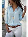 Γυναικεία Μπλούζα Πουκάμισο Σκέτο Μονόχρωμο Μακρυμάνικο Λαιμόκοψη V Βασικό Άριστος Φαρδιά Σιφόν Λευκό Μαύρο Θαλασσί