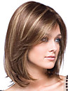 Syntetiska peruker Lugg Kinky Rakt Sidodel Peruk Mellan Brun / Bourgogne Syntetiskt hår 14 tum Dam Moderiktig design Len Dam Brun / Ombre-hår