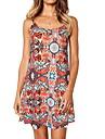 Women\'s Strap Dress Short Mini Dress Black Red Navy Blue Light Blue Sleeveless Floral Print Basic S M L XL XXL